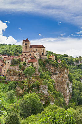 Photograph - Saint Circ Lapopie In France Against A Blue Sky by Semmick Photo