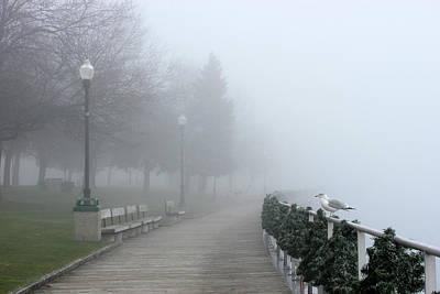 Photograph - Saint Clair Boardwalk In Fog 20 by Mary Bedy