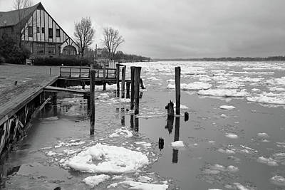 Photograph - Saint Clair Inn And Spring Thaw 2 Bw by Mary Bedy