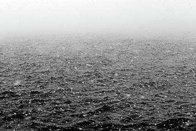 Photograph - Saint Clair River In Snowstorm Bw by Mary Bedy