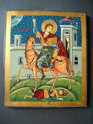 Greek Icon Painting - Saint Demeter St. Demetrios St. Dmitry Hand Painted Orthodox Holy Icon by Denise Clemenco