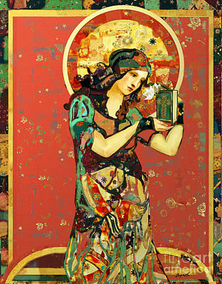 Art Deco Mixed Media - Saint Dymphna by Carrie Joy Byrnes
