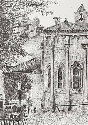 Pen And Ink Tree Drawing - Saint-emilion by Vincent Alexander Booth