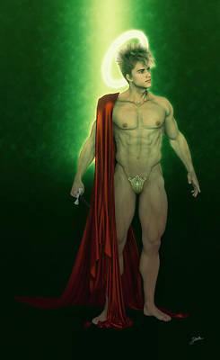 Holy Digital Art - Saint Faust In Green by Joaquin Abella