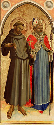 Painting - Saint Francis And A Bishop Saint by Fra Angelico
