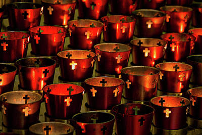 Photograph - Saint Francis Cathedral Votive Candles by Stuart Litoff