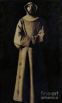 Zurbaran Painting - Saint Francis Of Assisi According To Pope Nicholas V's Vision. by Celestial Images