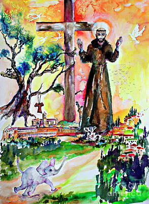 Painting - Saint Francis Of Assisi Christian Symbolism by Ginette Callaway