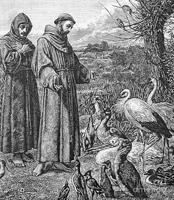 Christianity Drawing - Saint Francis Of Assisi Preaching To The Birds by English School