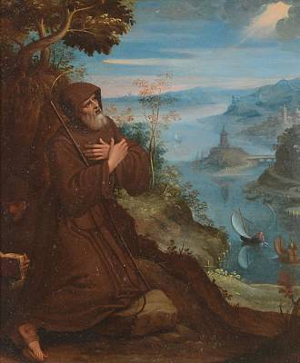 Hills Painting - Saint Francis Praying In A Woodland Setting by MotionAge Designs
