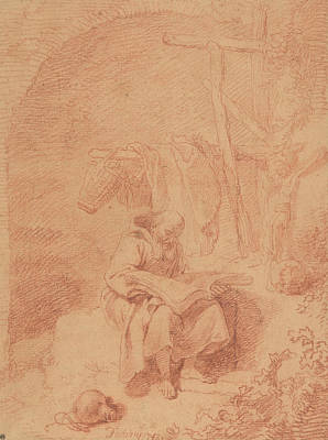 Drawing - Saint Francis Reading by Christian Wilhelm Ernst Dietrich