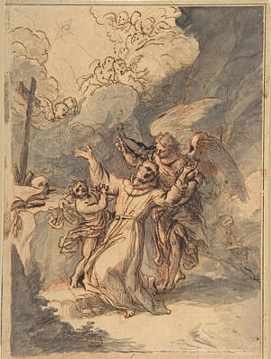Drawing - Saint Francis Receiving The Stigmata by Antonio de Pereda