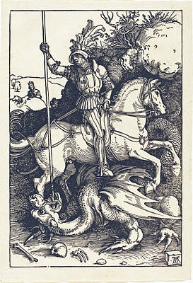 Drawing - Saint George Killing The Dragon by Albrecht Durer