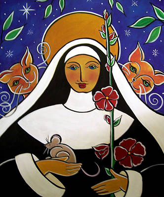 Saint Gertrude Of Nivelles Art Print