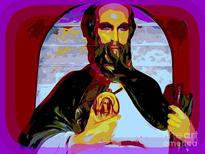 Digital Art - Saint Holding Medallion by Ed Weidman
