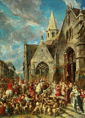 Mixed Media - Saint Hubert's Day. The Blessing Of The Hounds by Eugene Isabey
