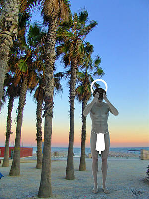 Barcelona Mixed Media - Saint In Bogatell Beach by Quim Abella