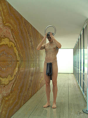 Barcelona Mixed Media - Saint In The German Pavilion Van Der Rohe by Quim Abella