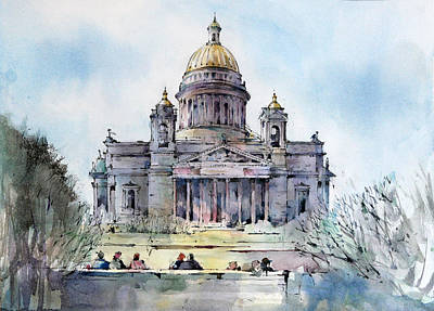 Summer Painting - Saint Isaac's Cathedral - Saint Petersburg - Russia  by Natalia Eremeyeva Duarte