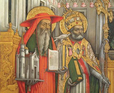 Enthroned Painting - Saint Jerome And Saint Gregory by Antonio Vivarini