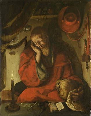 Catholic For Sale Painting - Saint Jerome In His Study By Candlelight by Attributed to Aertgen van Leyden