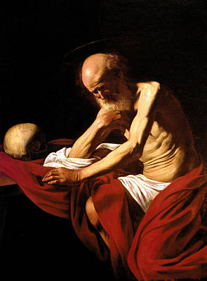 Saint Jerome In Meditation Art Print by Caravaggio