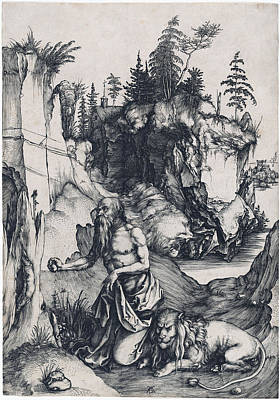 Drawing - Saint Jerome Penitent In The Wilderness by Albrecht Durer