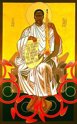 John Coltrane Painting - Saint John Coltrane Enthroned by Mark Dukes