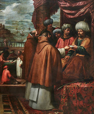 Painting - Saint John Of Mata Delivers The Letters Of The Pope To The King Of Morocco by Vincenzo Carducci
