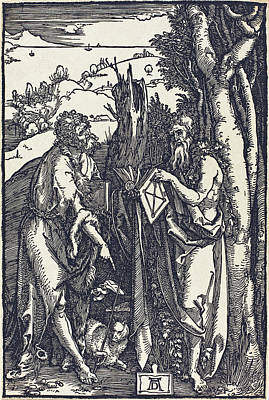 Drawing - Saint John The Baptist And Saint Onuphrius by Albrecht Durer
