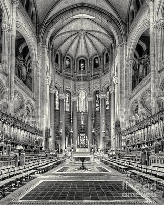Saint John The Divine Interior Bw Art Print by Jerry Fornarotto