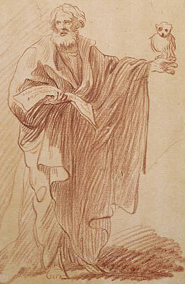 Red Line Drawing - Saint John The Evangelist by Edme Bouchardon
