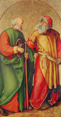 Saint Joseph And Saint Joachim Print by Albrecht Durer or Duerer