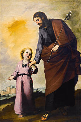 Saint Joseph And The Christ Child Painting - Saint Joseph With The Christ Child by Bartolome Esteban Murillo