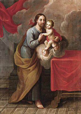 Saint Joseph And The Christ Child Painting - Saint Joseph With The Infant Jesus by Jose de Paez