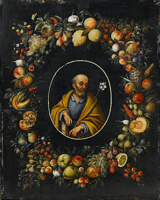 Painting - Saint Joseph Within A Garland Of Fruit by Peter Mathys Gillemans