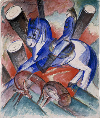 Franz Marc Drawing - Saint Julian The Hospitaler by Franz Marc