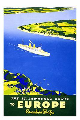 Royalty-Free and Rights-Managed Images - Saint Lawrence River - Ocean Liners - Canadian Pacific - Retro travel Poster - Vintage Poster by Studio Grafiikka
