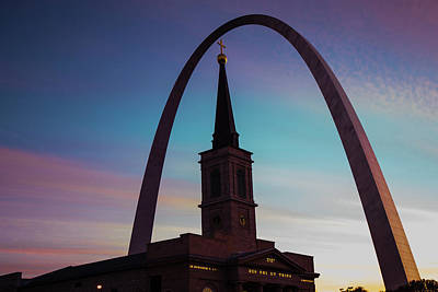 Photograph - Saint Louis Arch And Cathedral At Dawn by Gregory Ballos