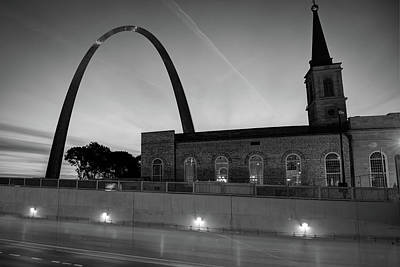 Photograph - Saint Louis Arch And Cathedral At Dusk - Black And White by Gregory Ballos