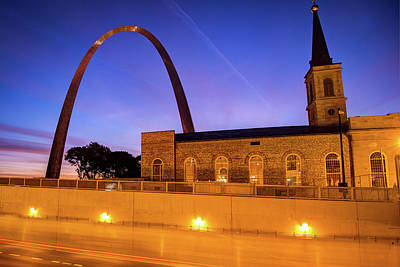 Photograph - Saint Louis Arch And Cathedral At Dusk by Gregory Ballos
