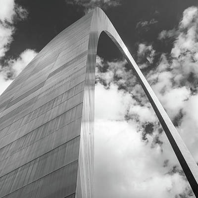 Photograph - Saint Louis Arch And Clouds Black And White Square Art by Gregory Ballos