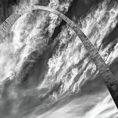 Photograph - Saint Louis Arch And Clouds Right Black And White 1x1 by Gregory Ballos
