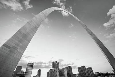 Photograph - Saint Louis Arch And Downtown Skyscrapers In Black And White by Gregory Ballos