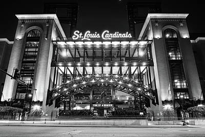 Photograph - Saint Louis Cardinals Busch Stadium - Black And White by Gregory Ballos