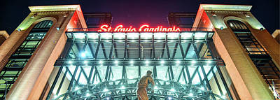 Photograph - Saint Louis Cardinals Panorama - Busch Stadium At Night by Gregory Ballos