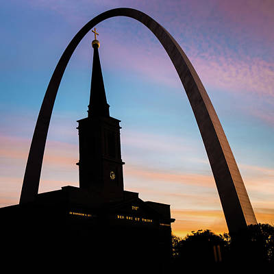 Print featuring the photograph Saint Louis Cathedral And Arch Morning Silhouettes by Gregory Ballos