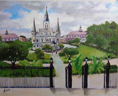 Painting - Saint Louis Cathedral by Arlen Avernian Thorensen