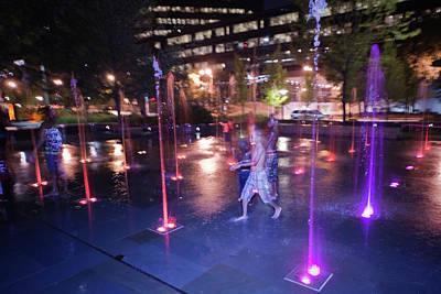 Photograph - Saint Louis City Garden Fountain Play by David Coblitz