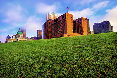 Photograph - Saint Louis City Skyline Architecture And Clouds by Gregory Ballos